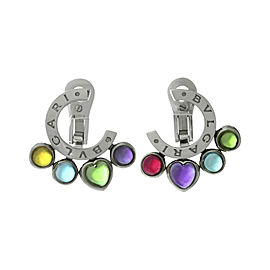 Bulgari Allegra 18K White Gold Amethyst Citrine Peridot Topaz Tourmaline Earrings