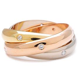 Cartier 18K Trinity 15P Diamond Ring Size 6