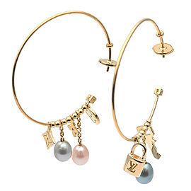 Louis Vuitton 18K YG Cultured Pearl Earrings
