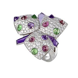 Cartier Caresse d'Orchidees 18K White Gold 2.50ct Diamond, Tsavorite, Pink Tourmaline and Amethyst Flower Ring Size 7