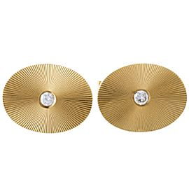 Tiffany & Co. 14K Yellow Gold with 0.20ct Diamond Oval Cufflinks