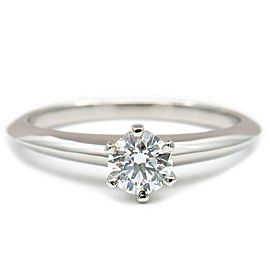 Tiffany&Co. Platinum Solitaire Diamond Ring Size 6