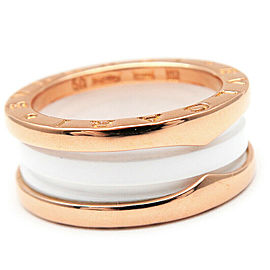 BVLGARI Rose Gold / White ceramic B-zero1 Ring Size 5.5