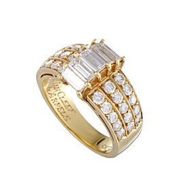 Van Cleef & Arpels 18K Yellow Gold 2.00ct Round and Baguette Diamond Band Ring Size 6.5