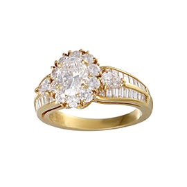 Van Cleef & Arpels 18K Yellow Gold with 1.03ct Diamond Flower Ring Size 7