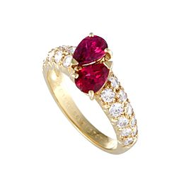 Van Cleef & Arpels 18K Yellow Gold 1.27ct Marquise Ruby and Diamond Ring Size 5.75