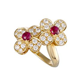 Van Cleef & Arpels Trefle 18K Yellow Gold 0.85ct Diamond and Ruby Flower Ring Size 5.75