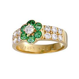Van Cleef & Arpels Fleurette 18K Yellow Gold 1.00ct Diamond and Emerald Flower Ring Size 5