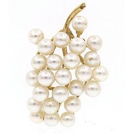 14k Yellow Gold Pearl Grape Bushel Brooch Pin