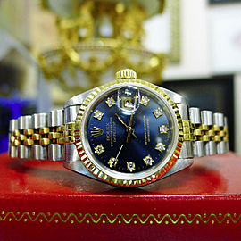 Ladies Rolex Datejust Yellow Gold Steel Diamond Dial Watch
