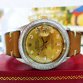 Mens Rolex Oyster Perpetual Datejust Diamond Steel Yellow Gold Watch