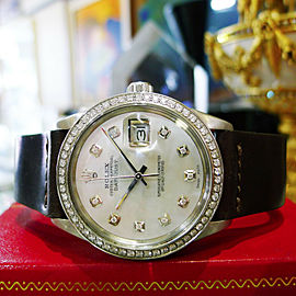 Mens Rolex Oyster Perpetual Datejust Diamonds Mother-of-Pearl Watch