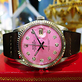 Mens Vintage Rolex Oyster Perpetual Datejust Steel Pink Diamond Dial Watch