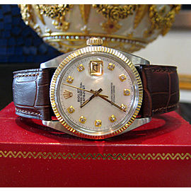 Mens Vintage Rolex Oyster Perpetual Datejust Diamond Dial Watch on Leather Strap