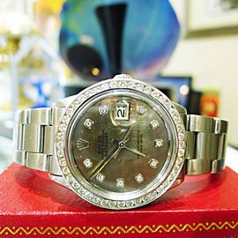 Mens Rolex Oyster Perpetual Datejust Tahitian Dial Diamond Stainless Steel Watch