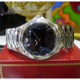 Mens Movado Classic Ref. 84 P2 1890 Automatic Stainless Steel Black Face Watch