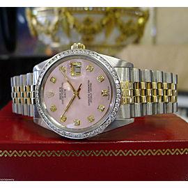 Mens Rolex Oyster Perpetual Date Diamond Dial & Bezel Yellow Gold S/Steel Watch