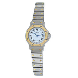Ladies Cartier Santos Octagon Steel 18K Yellow Gold 25MM Automatic Watch