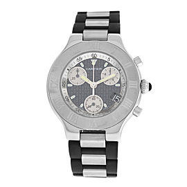 Mens Cartier 2424 Chronoscaph 38MM Steel Date Quartz Chronograph Watch