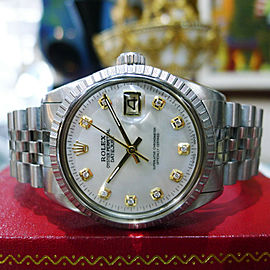 Mens Rolex Oyster Perpetual Datejust 36Mm Diamonds Mother-Of-Pearl Stainless