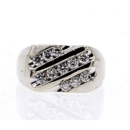 14k White Gold 1.1ct Diamond Men's Ring 9 Grams Size 10