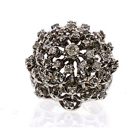 14k White Gold Cocktail Dome Diamond Ladies Ring 12.2 Grams Size 4.5
