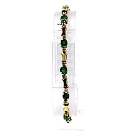 Estate 14k Yellow Gold Emerald Diamond Link Bracelet