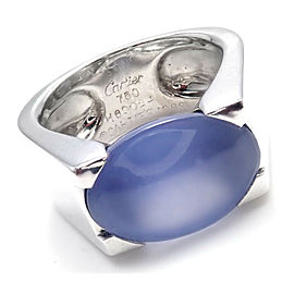 CARTIER 18K WHITE GOLD LARGE CHALCEDONY RING 1999