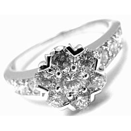 VAN CLEEF & ARPELS 18k White Gold Diamond Small Fleurette Flower Ring