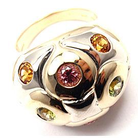 Bvlgari Bulgari 18k Yellow White Gold Peridot Citrine Tourmaline Ring
