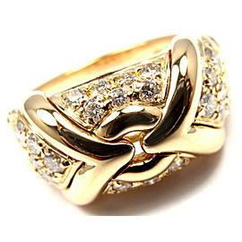 Authentic! Bulgari Bvlgari 18k Yellow Gold Diamond Band Ring