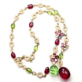 Bvlgari Bulgari Sapphire Flower Diamond Rubellite Peridot Necklace