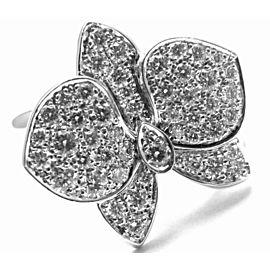 Cartier Caresse D'orchidées Orchid Flower 18k White Gold Diamond Ring