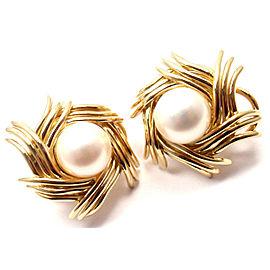 Tiffany & Co Jean Schlumberger 18k Yellow Gold Pearl Earrings