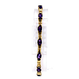 Estate 14k Yellow Gold Amethyst Link Bracelet
