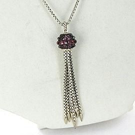David Yurman Osetra Tassel Necklace 13mm Rhodolite Garnet Sterling