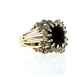 14K YELLOW GOLD OVAL SAPPHIRE DIAMONDS LADIES RING SIZE 8