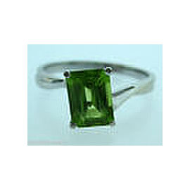 14K WHITE GOLD LADIES GREEN CITRINE STONE RING SIZE 8