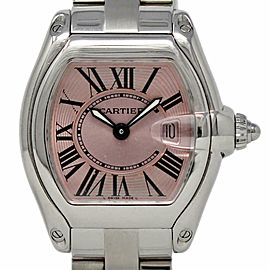 Cartier Roadster W62017V3 Small 36mm Stainless Steel Pink