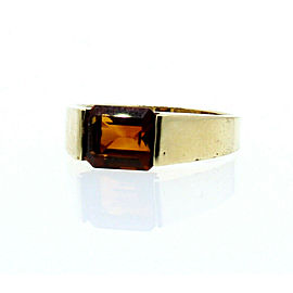 14K YELLOW GOLD LADIES QUARTZ STONE RING SIZE 7.75