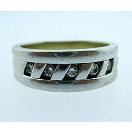 14K WHITE GOLD DIAMOND BAND MENS RING SIZE 9 3/4
