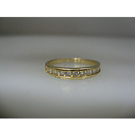 14K YELLOW GOLD DIAMOND BAND LADIES RING SIZE 8