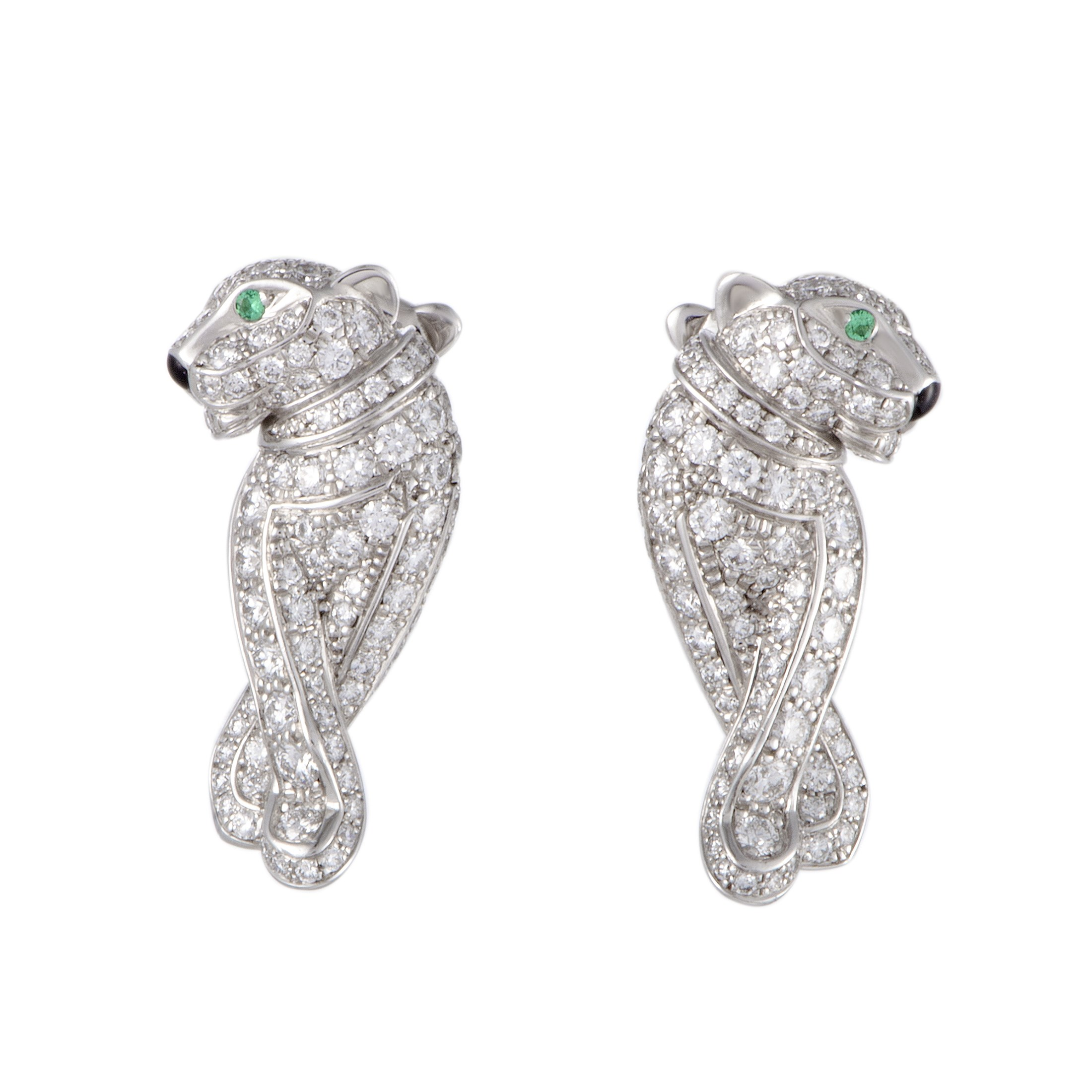 Cartier Panthere 18k White Gold 0 66ct Diamond And Emerald Earrings At Truefacet