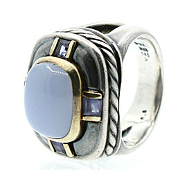 David Yurman Chalcedony and Iolite Renaissance Cable Silver and Gold Ring sz 6