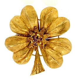 Fine Estate 18k Yellow Gold Ruby Flower Daisy Pin Brooch