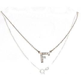 """Fine Estate 18k White Gold Diamond """"F"""" Necklace Chain Choker"""