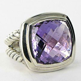 David Yurman Albion Amethyst Ring 17mm Cable Sterling Split Shank Size 7