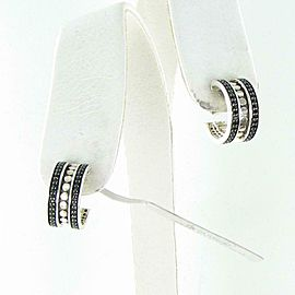 John Hardy Dot Hoop Earrings Black Spinels Sterling Silver