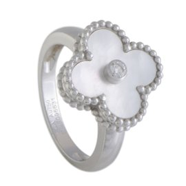 Van Cleef & Arpels Vintage Alhambra 18K White Gold 0.06ct Diamond and Mother of Pearl Ring Size 6