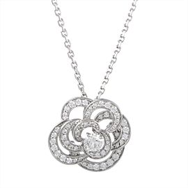 Chanel Camellia 18K White Gold with 0.33ct Diamond Pendant Necklace
